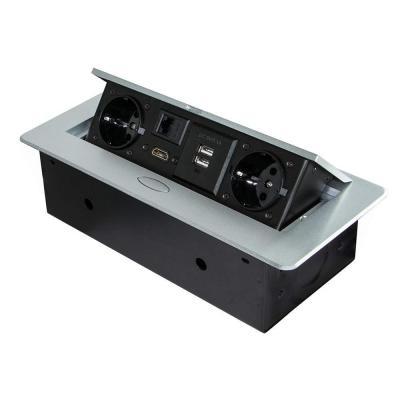 Emuca, Blocco multipresa a scomparsa da incasso nella scrivania, ciabatta multipresa (spina EU tipo F, USB, RJ45 e HDMI), 265x120mm, grigio metallizzato                                                                                                       Classe di efficienza energetica A,